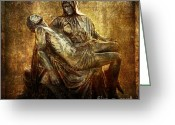 Religious Art Digital Art Greeting Cards - Pieta Via Dolorosa 4 Greeting Card by Lianne Schneider