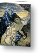 Brushstroke Greeting Cards - Pieta Greeting Card by Vincent van Gogh