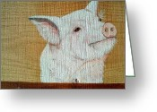 Boar Greeting Cards - Pig Smile Greeting Card by Debbie LaFrance