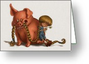 Children Greeting Cards - Pig Tales Chomp Greeting Card by Andy Catling