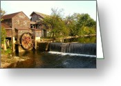 White River Scene Greeting Cards - Pigeon Forge Mill in Tennessee Greeting Card by Cindy Wright
