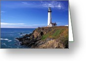 Featured Greeting Cards - Pigeon Point Lighthouse 2 Greeting Card by Kathy Yates