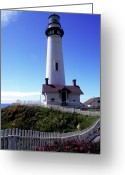 Clouds Framed Prints Greeting Cards - Pigeon Point Lighthouse 3 Greeting Card by Kathy Yates