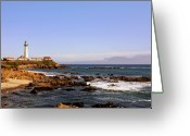 Melancholic Greeting Cards - Pigeon Point Lighthouse CA Greeting Card by Christine Till
