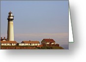 Coastal Greeting Cards - Pigeon Point Lighthouse on Californias Pacific Coast Greeting Card by Christine Till