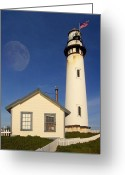 Full Moons Greeting Cards - Pigeon Point Lighthouse Greeting Card by Wingsdomain Art and Photography