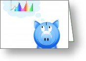 Finance Greeting Cards - Piggy Bank With Graph Greeting Card by Setsiri Silapasuwanchai
