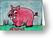 Contemplating Greeting Cards - Piggy Contemplating Bacon Greeting Card by Jera Sky