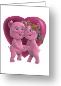 Boy Room Art Greeting Cards - Pigs In Love Greeting Card by Martin Davey
