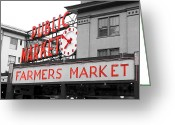 Pike Seafood Market Greeting Cards - Pike Place Market Seattle Greeting Card by Michael  Kenney