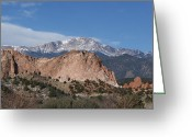 Garden Of The Gods Greeting Cards - Pikes Peak Behind Garden of the Gods Greeting Card by Ernie Echols