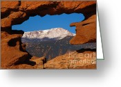 Snow-cap Greeting Cards - Pikes Peak Frame Greeting Card by Jon Holiday