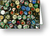 Bottle Cap Photo Greeting Cards - Pile of Beer Bottle Caps . 2 to 1 Proportion Greeting Card by Wingsdomain Art and Photography