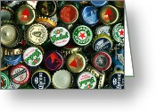 Bottle Cap Photo Greeting Cards - Pile of Beer Bottle Caps . 3 to 1 Proportion Greeting Card by Wingsdomain Art and Photography