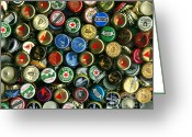 Bottle Cap Photo Greeting Cards - Pile of Beer Bottle Caps . 8 to 10 Proportion Greeting Card by Wingsdomain Art and Photography