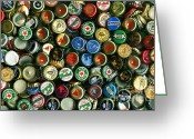Bottle Cap Photo Greeting Cards - Pile of Beer Bottle Caps . 8 to 12 Proportion Greeting Card by Wingsdomain Art and Photography