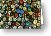 Bottle Cap Photo Greeting Cards - Pile of Beer Bottle Caps . 9 to 12 Proportion Greeting Card by Wingsdomain Art and Photography