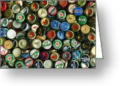 Bottle Cap Greeting Cards - Pile of Beer Bottle Caps . 9 to 16 Proportion Greeting Card by Wingsdomain Art and Photography