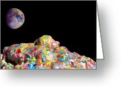Color  Colorful Sculpture Greeting Cards - Pile Of Color In Space Two K O Four Greeting Card by Carl Deaville