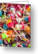 Willy Wonka Greeting Cards - Pile of Lollipops - Painterly Greeting Card by Wingsdomain Art and Photography
