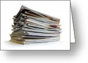 Press Greeting Cards - Pile of Magazines Greeting Card by Carlos Caetano
