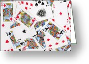 Playing Cards Greeting Cards - Pile of Playing Cards Greeting Card by Wingsdomain Art and Photography