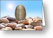 Blue Cobblestone Greeting Cards - Pile of river rocks on white Greeting Card by Sandra Cunningham