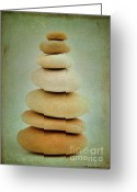 Tranquility Greeting Cards - Pile of stones Greeting Card by Bernard Jaubert