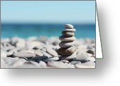 Balance Greeting Cards - Pile Of Stones On Beach Greeting Card by Dhmig Photography
