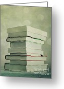 Library Greeting Cards - Piled Reading Matter Greeting Card by Priska Wettstein