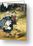 Schoolgirl Greeting Cards - Pilgrim Schoolchildren Greeting Card by Granger