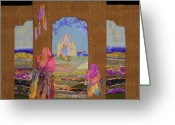 Textile Art Tapestries - Textiles Greeting Cards - Pilgrimage Greeting Card by Roberta Baker