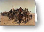 Orientalists Greeting Cards - Pilgrims Going to Mecca Greeting Card by Leon Auguste Adolphe Belly