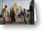 Asian Architecture And Art Greeting Cards - Pilgrims Walk Toward The Taj Mahal Greeting Card by Justin Guariglia