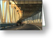 San Rafael Bridge Greeting Cards - Pillar of Light Greeting Card by Raquel Amaral