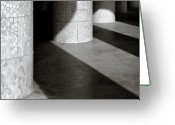 Sunlight Greeting Cards - Pillars and Shadow Greeting Card by David Bowman