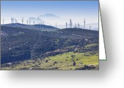 Windmill And Tree Greeting Cards - Pillars Of Hercules Seen From Casares, Spain. Greeting Card by Ken Welsh