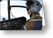 Control Greeting Cards - Pilot In The Cockpit Of A Ch-46 Sea Greeting Card by Daniel Karlsson