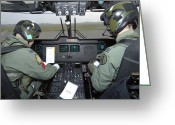 Control Greeting Cards - Pilots Inside The Cockpit Of A Royal Greeting Card by Andrew Chittock