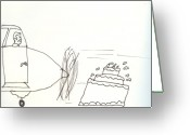 Albert Drawings Greeting Cards - Pilots Lounge Birthday Image Greeting Card by JD Moores
