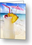 Umbrella Photo Greeting Cards - Pina colada cocktail on the beach Greeting Card by Elena Elisseeva