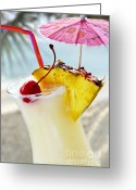 Umbrella Photo Greeting Cards - Pina colada Greeting Card by Elena Elisseeva