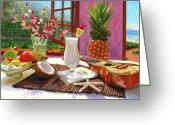 Food And Beverage Painting Greeting Cards - Pina Colada Greeting Card by Steve Simon
