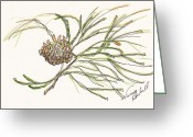 Holiday Notecard Greeting Cards - Pine Branch Offering Greeting Card by Michele Hollister - for Nancy Asbell