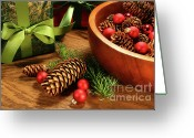 Sell Greeting Cards - Pine branches with gift tag  Greeting Card by Sandra Cunningham