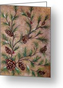 Christmas Pastels Greeting Cards - Pine Cones and Spruce Branches Greeting Card by Nancy Mueller