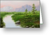 Pine Trees Painting Greeting Cards - Pine for the Mountain River Landacape Greeting Card by Mark Webster