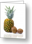 Gourmet Vegetable Greeting Cards - Pineapple and Kiwis Greeting Card by Carlos Caetano