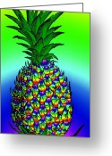 Outmoded Digital Art Greeting Cards - Pineapple Greeting Card by Eric Edelman