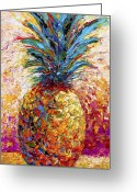  Expressionism Greeting Cards - Pineapple Expression Greeting Card by Marion Rose